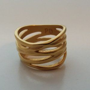 Premier Designs Size 6.5 Ring Wire Brushed Gold